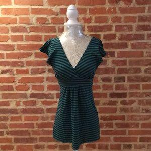 Ella Moss stripe V-neck ruffle sleeve camisole.